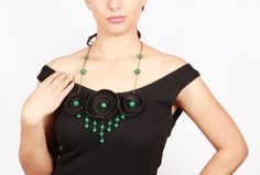Malachite Necklace Genuine Leather Statement Necklace, Boho Necklace, Genuine Leather, Evening Jewelry, Prom, Armenian Handmade   ONE OF A KIND Gender: Malachite Women's Material: Genuine Leather Condition: Brand New Product Features: Handmade Country of Origin: Armenia Designer: Nune Avagyan ID: NA0036  All our products are 100% handmade in Armenia by Armenian artisans currently living in Armenia. Products come with authentication card, in which we confirm authentication of the product and…