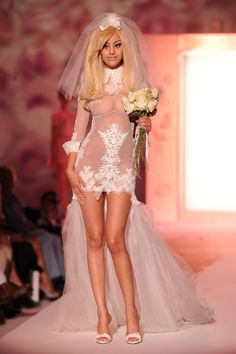 Zahia Dehar Wearing Sexy Wedding Dress