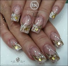 luminous nails | Shimmering Gold with Soft Pink & White Nails...