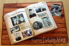 Looking for cake decorating project inspiration? Check out Photo Album Cake by member Sweetly Aimee. 90th Birthday Cakes, 85th Birthday, 90th Birthday Parties, Open Book Cakes, 60th Anniversary Cakes, Bolo Original, Camera Cakes, Wilton Cake Decorating, Shower Bebe