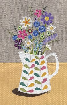 Picture a posy A4 Print From Days In Design www.etsy.com/shop/daysindesign www.daysindesign.co.uk Floral fabric art work. A4 print of original textile illustration of flowers in a Orla Kiely jug. Applique and free motion embroidery.