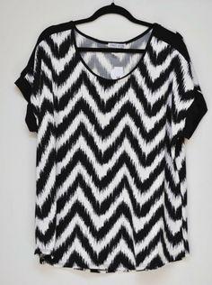 bb7191d156df Carol Rose Chiffon Blouse Short Sleeve Black White Women s Plus size 2X NWT   CarolRose