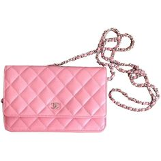 Pre-owned Chanel Quilted Wallet On A Chain ($3,340) ❤ liked on Polyvore featuring bags, handbags, pink, accessories, light pink, light pink bag, quilted cross body bag, holiday bags, evening bags and chain bag
