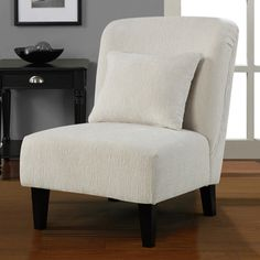 @Overstock - Create the perfect contemporary setting with this stylish accent chair. This armless chair comes in a creamy white color. It is accented with dark brown stained legs. Use this chair to define any living space. It works well in living rooms and dens.http://www.overstock.com/Home-Garden/Anna-Sculptured-Snow-Accent-Chair/6708647/product.html?CID=214117 $189.99