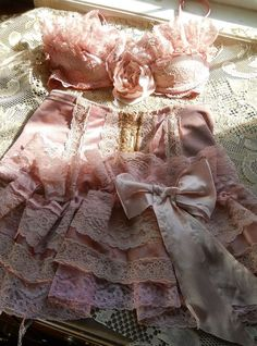 "Pink ruffled bra & girdle set available from ""vintageopulence"" on www.Etsy.com"