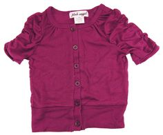 Pink Angel Little Girls 2-6X Plum Ruched Sleeves Cardigan