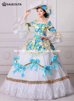 New Floral Printed Marie Antoinette Masquerade Dresses Renaissance Southern Belle Ball Gowns Theatrical Clothing