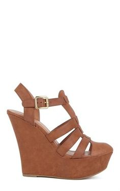 T-Strap Closed Toe Platform Wedges with Strappy Upper