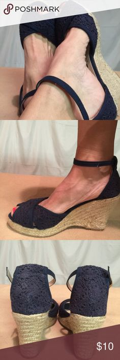 Blue Navy Blue Crochet Style wedges I wore these shoes one time only and had no other need for them. They are in PERFECT CONDITION. The wedge height is 4 inches tall. Blue Shoes Wedges