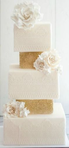 gorgeous white lace and sparkly gold wedding cake ~  we ❤ this! moncheribridals.com