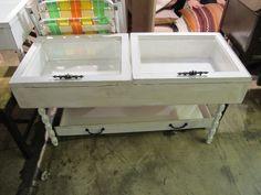 Handmade White Antique Finish Window Shadow Box CoffeeTable Beach House Furniture on Etsy, $250.00