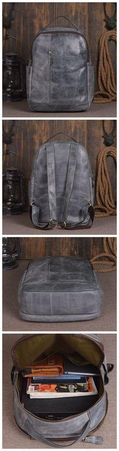 Handmade Genuine Leather School Backpack Casual Rucksack Travel Backpack Daily Backpack Laptop Bag 14130 -------------------------------- Overview: Design: Vintage Vegetable Tanned Leather Backpack In