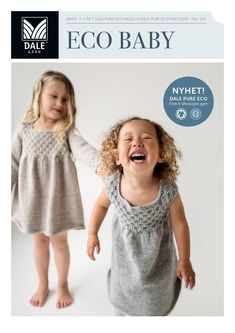 This pattern includes a dress with and without sleeves in ECO Wool and a capelet in ECO Fur. Eco Baby, Capelet, Baby Patterns, Baby Gifts, Crochet Hats, Flower Girl Dresses, Pure Products, Wool, Summer Dresses