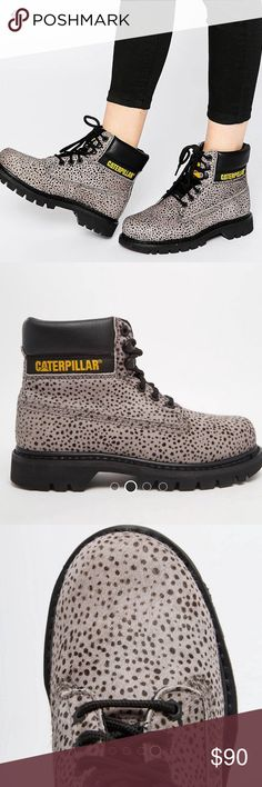 CAT Colorado Boots NWOT Caterpillar Colorado Boots. NEW! Never wore them bc they're a little too big for me. Genuine leather and pony hair style upper. Padded cuff, lace closure. Size 9. Caterpillar Shoes Lace Up Boots
