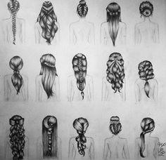 haar tekenen 29 New Ideas Drawing People Hair Colored Pencils Pencil Art Drawings, Art Drawings Sketches, Cute Drawings, How To Draw Braids, How To Draw Hair, Hair Sketch, Rides Front, People Art, Bridesmaid Hair