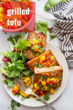 This grilled tofu is the flavor-packed vegan main dish your cookouts have been missing! Soaked in a zesty cumin-lime marinade and served with mango salsa, this scrumptious (and easy to make) tofu will be a new summer dinner favorite. #veganrecipes #tofu #vegangrilling #grilledtofu Mango Recipes, Veg Recipes, Grilling Recipes, Whole Food Recipes, Barbecue Recipes, Barbecue Sauce, Summer Recipes, Vegan Dinner Recipes, Recipes