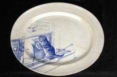 Minton bone china. Cat serving plate, blue on white, ca 1880s. Kingston Lacy, Dorset, England.