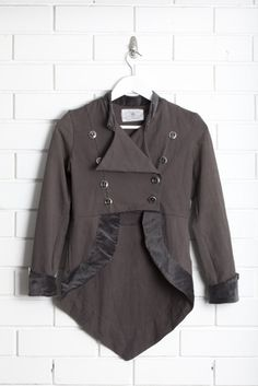 Rayon lycra and velvet trim. Military style double breasted jacket with anchor buttons, velvet cuff detail and scooped tail hem. Charcoal as shown. Double Breasted Jacket, Military Fashion, Nike Jacket, Winter Outfits, What To Wear, Charcoal, Velvet, Classy, Blazer