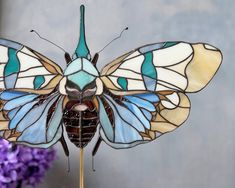 Cornflower' Bug suncatcher belongs to my richly detailed and ridiculously colorful line of stained glass décor Jazzy Bugs Stained Glass Birds, Stained Glass Suncatchers, Stained Glass Panels, Leaded Glass, Glass Butterfly, Mosaic Glass, Mosaic Mirrors, Mosaic Wall, Beautiful