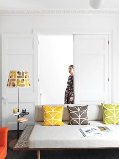 Textile designer Orla Kiely's renovated London Terrace House is punctuated by her distinctive palette and motifs. love the leaf pattern included throughout this home design. Orla Kiely, Home Textile, Textile Design, Deco Retro, Living Room Decor, Living Spaces, Bedroom Decor, Style Retro, Indie Style