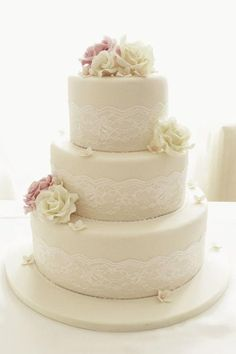 White Wedding Cakes Round Wedding Cakes - Ivory roses and lace three tier wedding cake Ivory Wedding Cake, 3 Tier Wedding Cakes, Round Wedding Cakes, Wedding Cake Rustic, Elegant Wedding Cakes, Beautiful Wedding Cakes, Wedding Cake Designs, Wedding Cake Toppers, Beautiful Cakes