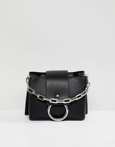 e7d37c45957c ALDO Ibilasien black structured cross body bag with metal ring detail