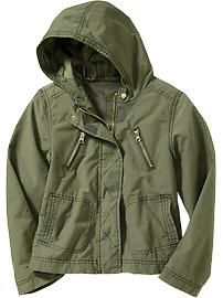 Girls Cropped Utility Parkas