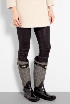Women's Rain Boots Flat Mid Calf Rubber Rain & Snow Wellies Boots ...