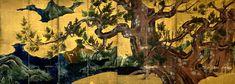 Attribué à Kano Eitoku. Paravent au cyprès, fin du XVIe siècle. Paravent à huit feuilles, couleurs et feuilles d'or sur papier. 169,5 x 460,5 cm. Musée national de Tokyo.