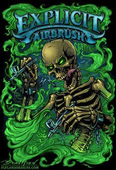 Skeleton Airbrush T-Shirt Illustration on Behance