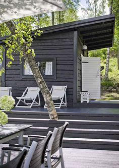 The Finnish holiday holidays include a beach sauna or a sauna cabin. Our holiday home … – Garden Types - How to Make Gardening Design Sauna, Outdoor Sauna, Summer Cabins, Container House Design, Garden Types, Porches, Black House, Tiny House, Cottage