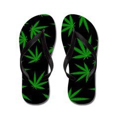 19f23a37c Marijuana Green Leaves On Black Flip Flops Black Flip Flops