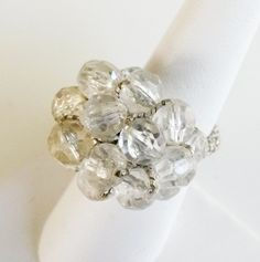 Vtg 1960s Chunky Clear Acrylic Cluster Bead Crocheted Adj Ring Size 5 #NotMarked #Cluster