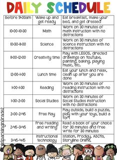 At Home Learning Daily Schedule!!!