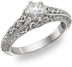 Paisley Solitaire 1/2 Carat Diamond Ring, 14K White Gold