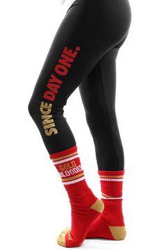 Since Day One (Women's Black/Red Leggings) - San Francisco - my kinda girl Nfl 49ers, 49ers Fans, Nfl Fans, Best Football Team, Football Fans, Football Season, Football Stuff, 49ers Outfit, 49ers Nation