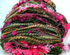 Kitty Grrlz FunctionArt Hand Spun Art Yarn - Holiday Roses (with sparkle, for skeins without and more art yarns click the picture or click here - http://www.etsy.com/shop/kittygrrlz