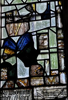 Stanton St Michael south transept south window 15th century stained glass fragments -201