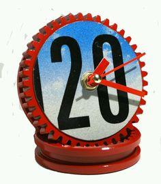 Handmade clock on car parts