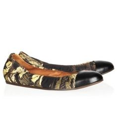 LANVIN Printed satin and leather ballet flats $190