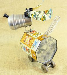 PETITE  a little bit of love robot dog  assemblage by reclaim2fame, $145.00