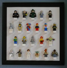 Lego mini-figure display This would be great to keep track of legos and doubles as little boy bedroom décor!  Doing this soon.