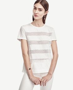 Primary Image of Eyelet Stripe Tee Long Tee, Bandeau Top, Striped Tee, Ann Taylor, Fashion Outfits, T Shirts For Women, My Style, Clothes, Tall Tees