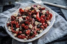 A salad that combines all the best roasted things. Capsicum, tomato, olives, spanish onion and tops it with roasted pepitas and feta! Summer on a plate! Food Styling | Food Photography | Dark Food Photography | Moody | Anisa Sabet | The Macadames