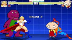 Barney The Dinosaur And Power Girl VS Stewie Griffin & Spider-Man In A MUGEN Match / Battle / Fight This video showcases Gameplay of Barney The Dinosaur From The Barney & Friends Series And Power Girl The Superheroine VS Stewie Griffin From The Family Guy Series And Spider-Man The Superhero In A MUGEN Match / Battle / Fight