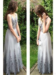 V-neck Applique Lace Long Prom Dress Evening Dresses #SIMIBridal #promdresses