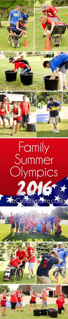 Family Summer Olympics are an annual family tradition and an excuse to spend some fun quality time with loved ones. Kids and adults' competitive spirit is put to it's test with a variety of backyard games and competitions, including water balloon relays, jumbo beer pong, wheelbarrow races, dodge ball, slosh ball and so much more! #Summer #Olympics #Backyard #Games #Kids #Adults