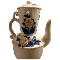 Antique Japanese Hirado Coffee / Chocolate Pot w/ Applied Kiku from manyfacesofjapan on Ruby Lane