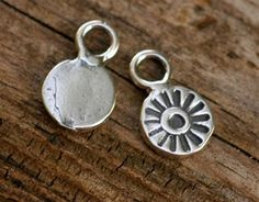 Set of 2 Tiny SUNS  Artisan Handcrafted Charms in by cathydailey, $4.78