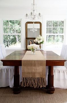 table, chairs, chandelier-love it all.
